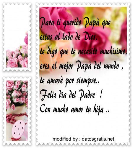 descargar tarjetas con mensajes bonitos para recordar a mi Papà por el dia del Padre para mi Papà fallecido