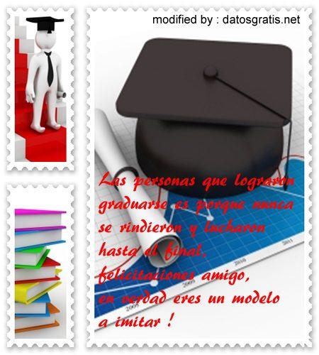 palabras bonitas de felicitación por graduación con fotos para enviar gratis
